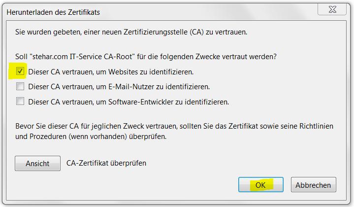 Firefox Zertifikat-Installation