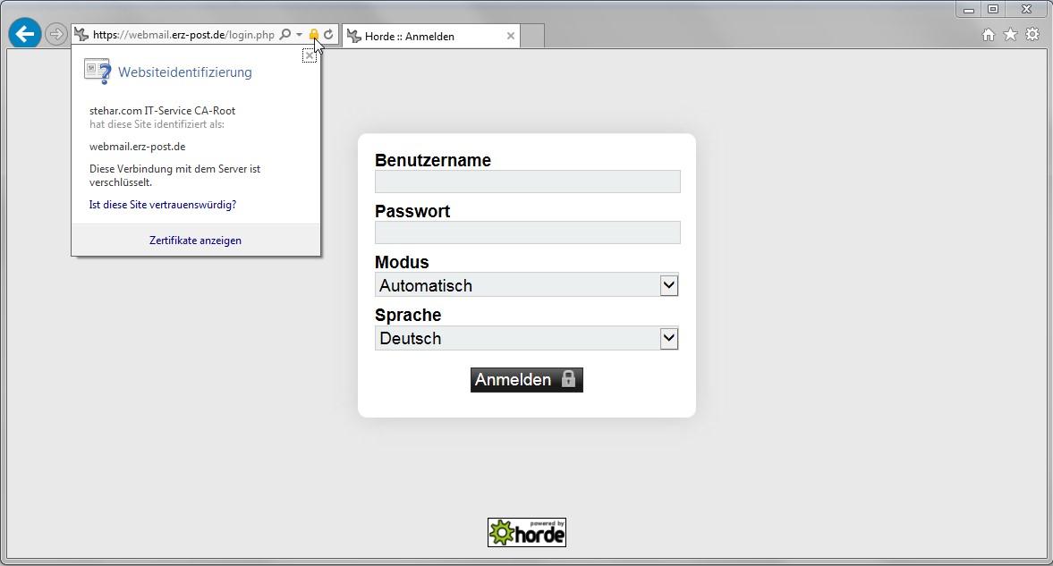 Zertifikat ist erfolgreich in Windows installiert - hier am Beispiel des regionalen E-Mail-Anbieters ERZ-Post.de
