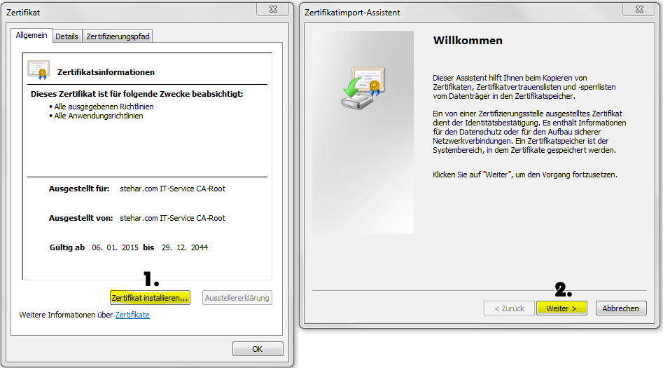 CA-Zertifikat-Installation Internet-Explorer und Google Chrome